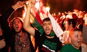 Algeria fans in Trafalgar Square in central London