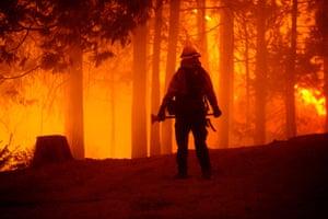 A firefighter surveys the Creek fire