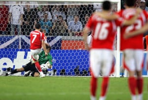 Ricardo Cabanas was one of three Swiss players to miss a penalty in the shootout against Ukraine.