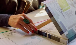 Zoe Hewett packs one of her interior design kits.