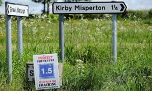 Anti-fracking signs on the roads approaching the village of Kirby Misperton.