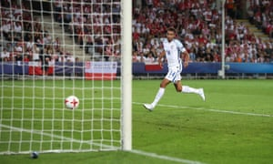 Jacob Murphy scores the second goal for England Under-21s against Poland Under-21s.