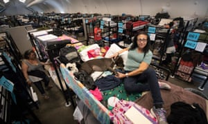 Sylvia Saliman and her dog Daisy in the Alpha Project tent for the homeless in San Diego, California.