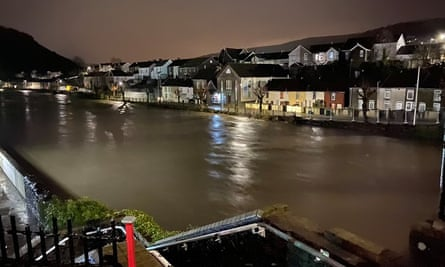 The River Taff at Pontypridd, South Wales, in the early hours of Saturday.