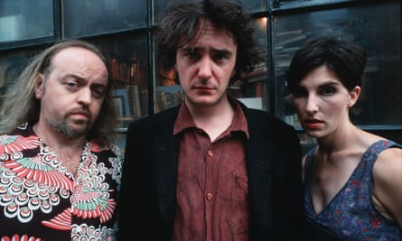 Bill Bailey, Dylan Moran and Tamsin Greig in Black Books.