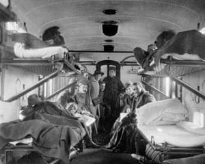 A nurse in the carriage of a hospital train, Denham, Buckinghamshire, 1916.