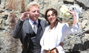 Boris Becker and Lilly Kerssenberg after their civil marriage ceremony in St Moritz, 2009.