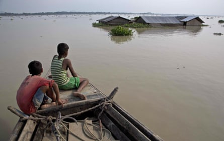 Flood-affected villagers in Morigaon district, east of Gauhati, Assam.