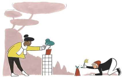 Illustration of two women nurturing plants