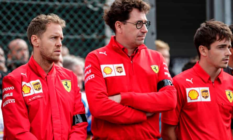 Ferrari's Sebastian Vettel, team principal Mattia Binotto and Charles Leclerc
