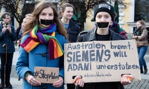 Activists in Germany protest against Siemens