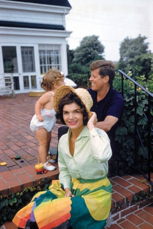 Jackie, JFK and Caroline on the patio of the family's Hyannis Port home in 1959.