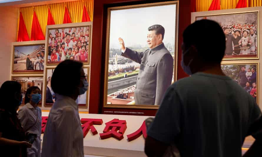 Images of Xi Jinping at the Museum of the Communist Party of China.
