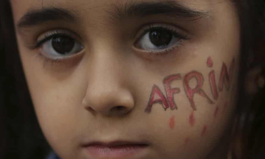 A Kurdish girl in Cyprus at a protest against the Turkish offensive in Afrin.