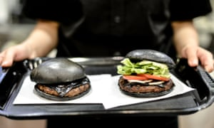Not burnt, just black ... kuro burgers served at a Tokyo Burger King.