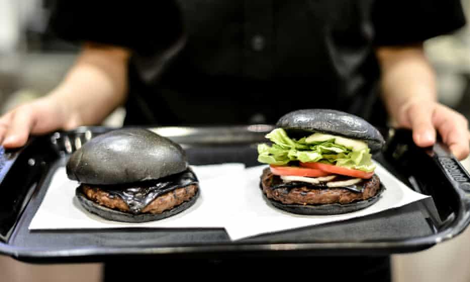 Not burnt, just black ... kuro burgers served at a Tokyo Burger King.