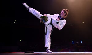 Jade Jones after winning a gold medal at the 2019 World Taekwondo championships in Manchester.
