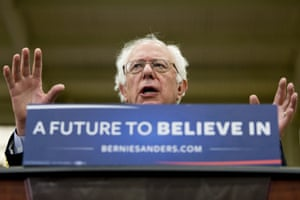 Bernie Sanders speaks during a campaign rally at Baldwin Wallace University in Berea, Ohio.