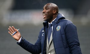 Sol Campbell gives instructions to his Macclesfield side in the Checkatrade Trophy game against Newcastle.