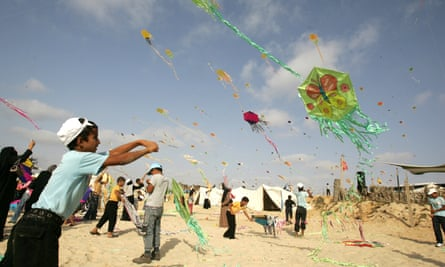 Palestinian children during a summer camp activity sponsored by UNRWA in Khan Yunis town, in the southern Gaza Strip.