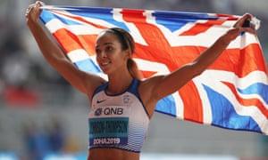 Katarina Johnson-Thompson celebrates after the 800m