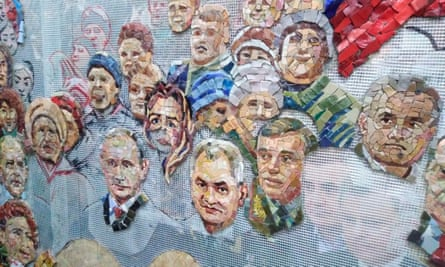 The unfinished mosaic depicting Vladimir Putin other top Russian officials.