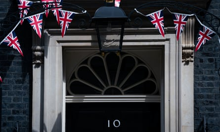 Union flag bunting outside No 10 after VE day, 10 May 2020.