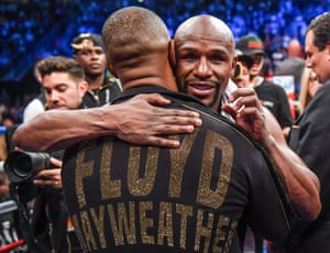 Floyd Mayweather Jr v Conor McGregorNevada , United States - 26 August 2017; Floyd Mayweather Jr celebrates following his super welterweight boxing match against Conor McGregor at T-Mobile Arena in Las Vegas, USA. (Photo By Stephen McCarthy/Sportsfile via Getty Images)