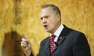 Roy Moore speaks at a rally on Thursday in Dora, Alabama.