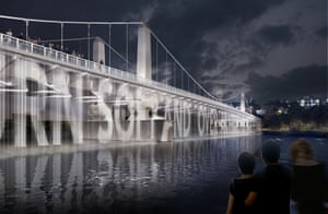 Diller Scofidio + Renfro's proposal for Chelsesa bridge, a water screen with projected text