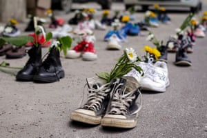 Shoes and flowers in Mandalay, as part of the 'marching shoes strike' called on social media