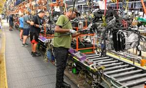 Engines assembled as they make their way through the assembly line at the GM manufacturing plant in Spring Hill, Tennessee.