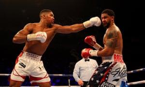 Anthony Joshua targets Dominic Breazeale's head.