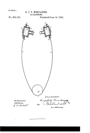 1891 patent for the first in-ear headphone