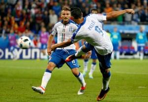 Graziano Pellè volleys in the second.