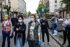 Opposition activists gather to protest government's policies during the coronavirus crisis in Belgrade on Wednesday