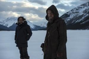 Alejandro González Iñárritu and Leonardo DiCaprio during the shoot for The Revenant.