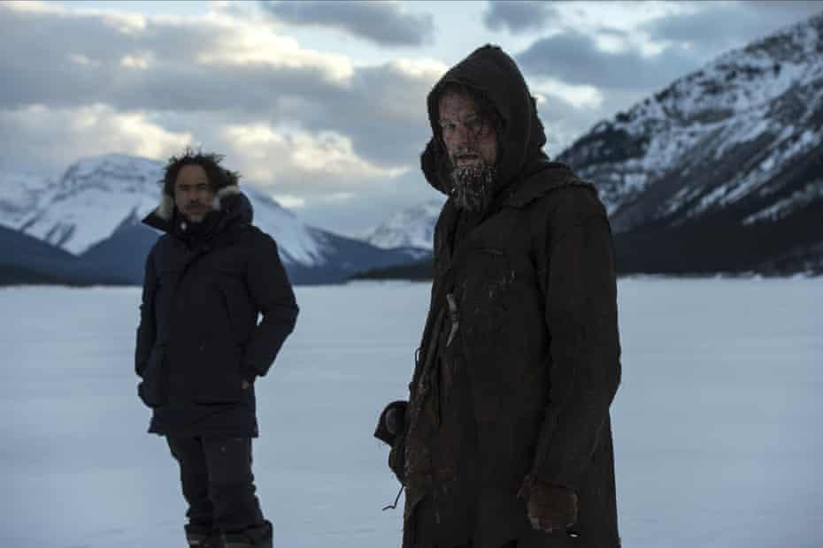 Director Alejandro González Iñárritu with Leonardo DiCaprio during the filming on The Revenant.