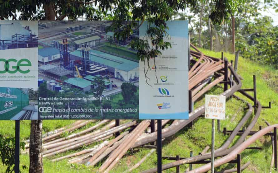 An oil pipeline on the edge of the Yasuni national park near Coca, Ecuador