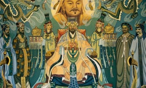 Mural with Genghis Khan and his court