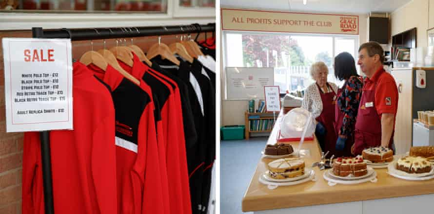 Shirts on sale outside the club offices, and cakes made by the Friends of Grace Road volunteers, with all profits going to the club.
