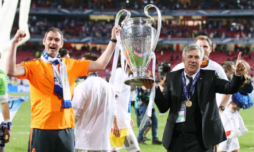 Paul Clement and Carlo Ancelotti celebrate winning the 2014 Champions League final