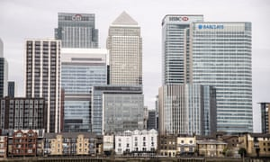 The skyline of Canary Wharf in London, as UK CFOs plan to boost spending, hiring and takeovers in the coming months.