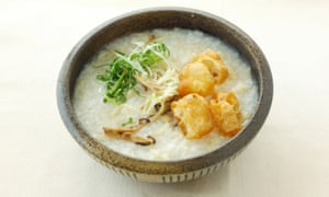 Congee with abalone and chicken.