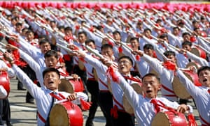North Korean drummers keep the beat