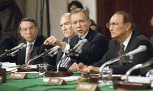 Orrin Hatch with fellow Republicans Chuck Grassley, Alan Simpson and Strom Thurmond at the Thomas hearings in 1991.