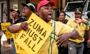 Supporters of Jacob Zuma's rival Cyril Ramaphosa protest outside ANC headquarters in Johannesburg on Monday