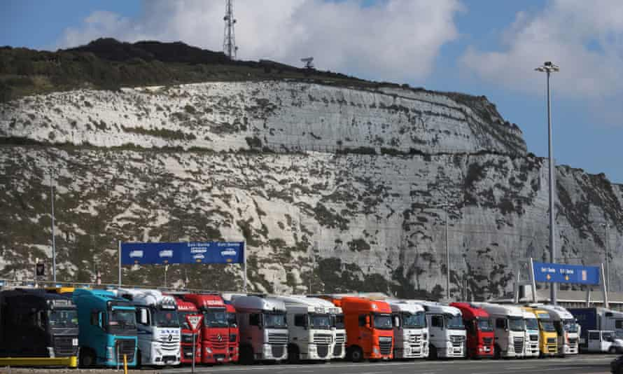Lorries wait to embark ferries at the Port of Dover
