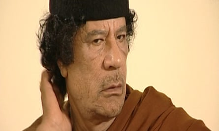 Footage of Colonel Gaddafi checking his hair is used as an explanation of the banality of dictators in HyperNormalisation.