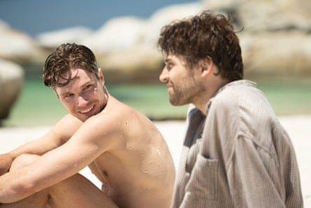 Tension … Kai Luke Brummer, left, and Ryan de Villiers in Moffie.